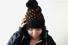 • Handmade  • Chunky Knit Winter Hat  • Custom Color Combination  • Seamless  • Wool-Free Fiber  • One Size fits most (include head size in seller