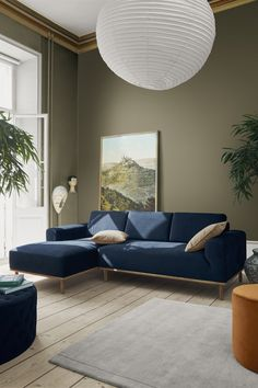 The Most Important Item in the Home: Designer Line Nevers Krabbenhøft Talks Sofas Living Room Decor Colors, Living Room Green, Living Room Sofa, Home Living Room, Living Room Designs, Blue Sofa Inspiration, Living Room Inspiration, Furniture Inspiration, Sofa Design