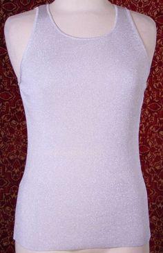 ANN TAYLOR LOFT silver rayon metallic knit tank blouse M  (T05-03J6G) #AnnTaylorLOFT #Blouse #Casual
