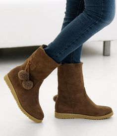 Pompom Accent Boots