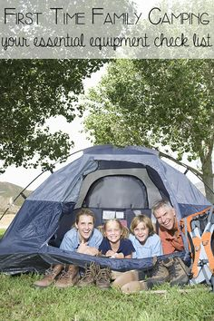 Setting off for your first family camping trip can be daunting especially if you don't have the equipment already. Here's our family camping equipment check list that includes the essentials for easing you into family camping for the first time Camping Snacks, Camping Hacks With Kids, Camping Bedarf, Camping Guide, Travel With Kids, Outdoor Camping, Camping Ideas, Camping Cabins, Camping Stuff
