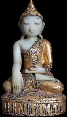 Burmese Alabaster Buddha Statue on pedestal 19th Century♥♥♥