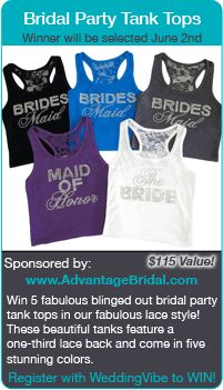 wedding contests - Win bridal party tank tops in this wedding giveaway!