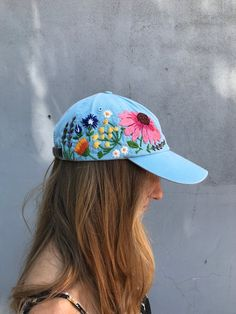 3156dd62 Hand embroidered hiking hat floral design baseball hat for women custom hat  for girls embroidered fl