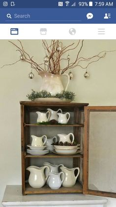 White pitchers, white dishes, christmas home, country christmas, christmas Christmas Home, Country Christmas, Cottage Christmas, Christmas Kitchen, Christmas Ideas, Xmas, Living Room Kitchen, Kitchen Decor, Dining Room