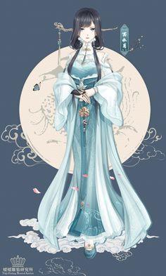 Nikki Character - Black Turquoise Family Leader - Chinese Hanfu