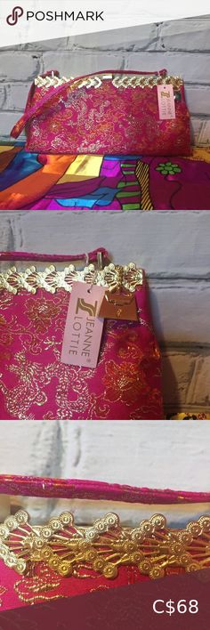 Jeanne Lottie Pink and Gold New Evening Bag Jeanne Lottie pink and gold with Chinese Dragon design. NEW WITH TAGS. Gold Purse Charm attached Jeanne Lottie Bags Vintage Clutch, Vintage Leather, Chic Backpack, Lululemon Bags, Vintage Messenger Bag, Gold Purses, Dragon Design, Beaded Clutch
