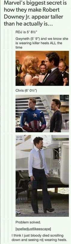 How they make Robert Downey Jr look taller.