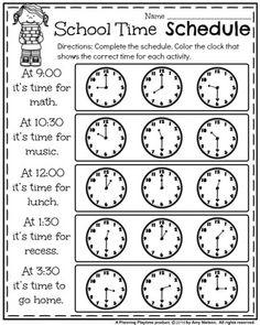 First Grade Time Worksheets - Hour, Half Hour & Quarter ...