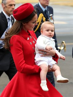 April 7, 2014 - The Duchess of Cambridge and Prince George arrive in New Zealand
