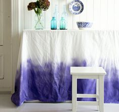DIY Dip-Dyed Tablecloth | via Oh Happy Day | House & Home