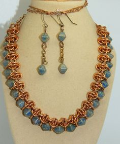 Hand-made Bronze Chain Maille with Blue Czech glass double pyramid beads set in Jewellery & Watches, Handcrafted Jewellery, Sets | eBay!