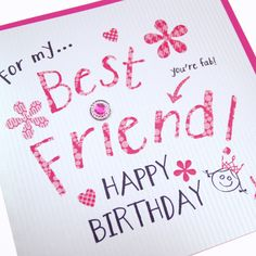21 best birthday images on pinterest bday cards birthday handmade best friend hot pink birthday card sparkling gem embellishment pinstripe embossing for my m4hsunfo