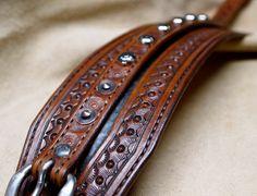 Leather cuff bracelet Custom hand tooled Suntan by mataradesign