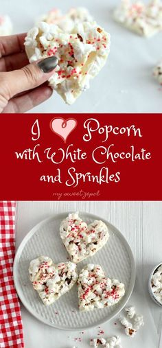 Popcorn is an universal snack and this heart shaped popcorn with white chocolate is a true treat for anyone around you. Super easy to make, can be modified to your favorite chocolate and toppings and will make someone smile. Worth it!  Grab the recipe at mysweetzepol.com #healthyrecipes