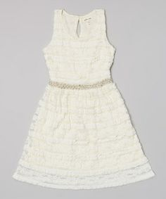 This White Lace Pearl Waist Dress by Monteau Girl is perfect! #zulilyfinds