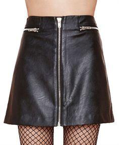 Metal Front Zipper Black PU A-line Skirt