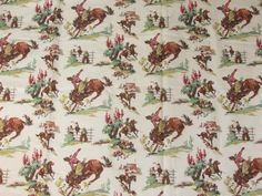 NEVER USED Shower Curtain Cowboys Country Western Rodeo Horse Ranch Pattern  Fabric Bathroom Decor Indian Cowgirl Wall Hanging Panel