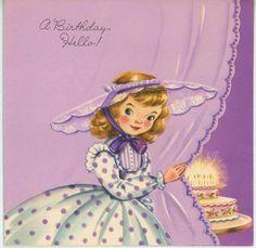 VINTAGE 1950S GIRL CHILD PURPLE POLKA DOT DRESS LACE HAT BIRTHDAY CARD ART PRINT