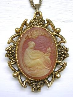 Vintage Cameo Necklace Mirror Reversible Gold Tone Bowl Fruit Woman from thevintageheart on Ruby Lane