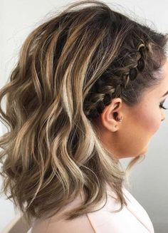 30 Cute Braided Hairstyles for Short Hair - Hair Tutorials Medium Hair Styles, Curly Hair Styles, Short Hair Styles Formal, Casual Updos For Medium Hair, Hair Styles For Short Hair Bob, Hair Styles For Prom, Shorter Hair Styles, How To Style Short Hair, Long Hair Ponytail Styles