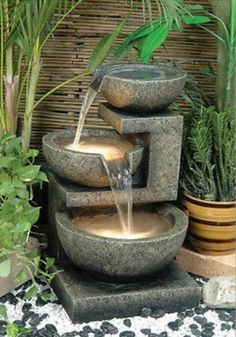 Water features provide a tropical oasis appeal to any backyard.