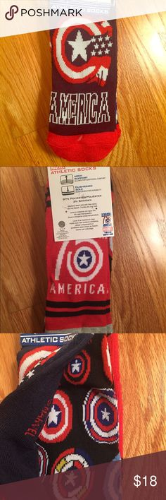 MARVEL CAPTAIN AMERICA 3 Pairs of Socks ❤️🇺🇸💥💙 This is a pack of 3 pairs of captain America socks! It's a special 75th Anniversary edition. It's brand new!!!They are low cut and fit shoe sizes 6-12. The material is very good quality and has arch support and a cushioned sole. Let me know if you have any questions! I have more superhero items in my shop! Marvel Other