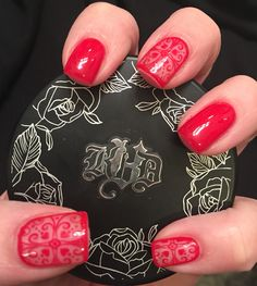 February 2016 Nails❤️  Red nails, Valentine Nails, Heart Manicure, Gel Nails