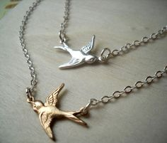 Double Chained Sparrow. Gold and Silver Bird by threebirdsdesigns, $27.00