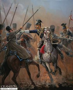 Officer 17th Lancers, Balaclava 1854 by Mark Churms. Showing Captain Wombwell engaging the 1st Ural Cossacks behind the Russian artillery.
