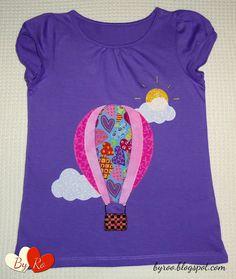 By Ro: Camiseta de patchwork: GLOBO Y NUBES Sewing Appliques, Applique Patterns, Cross Stitch Patterns, Quilt Patterns, Sewing Kids Clothes, Sewing For Kids, Diy Clothes, Felt Applique, Felt Crafts