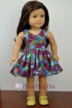 Richly colored dahlia print dress by CottonCandyClub on Etsy. Made using the Lisianthus Dress pattern, found here http://www.pixiefaire.com/products/lisianthus-dress-18-doll-clothes. #pixiefaire #lisianthusdress