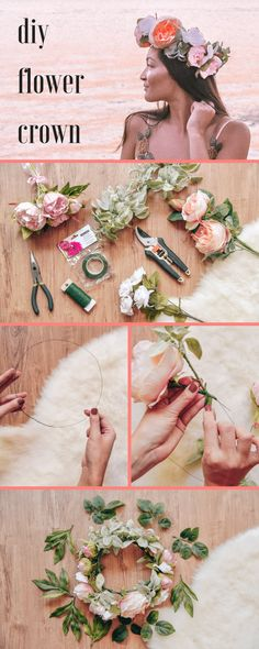DIY wedding project: how to make a flower crown for your weddinghow to make a flower crown. Learn how to make your own DIY flower crown in 6 easy steps. Here is a step-by-step guide Flower Crown Tutorial, Diy Flower Crown, Diy Crown, Flower Crowns, Flower Headbands, Flower Girls, Bow Tutorial, Floral Crown, Flower Wall