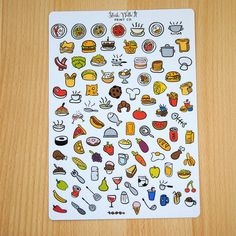 Food planner stickers- icons food cooking chef meal Erin Condren life planner ECLP kikki k plum planner filofax midori cook eating 50