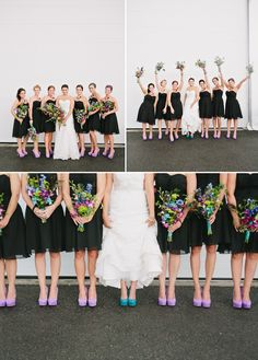 Peacock Inspired Wedding #wedding #peacock #pictureideas... Don't really care for the peacock wedding theme but I love the way these colors pop with the black dresses
