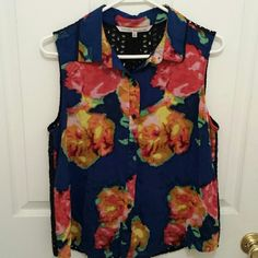 Vibrant Blouse Beautiful, vibrant, abstract floral blouse. The shirt is sheer. It's gorgeous and it great condition, it's just not my size. Button front. RACHEL Rachel Roy Tops Blouses
