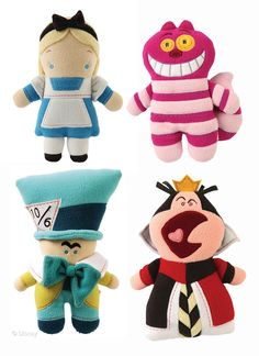 Disney Peluches y sus personajes clásicos-Alice plushies-Alice, Mad Hatter, Queen and Cat