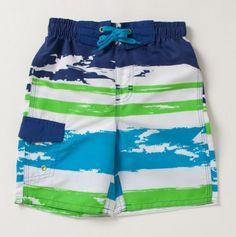 Toddler Printed Distress Stripe Swim Shorts - Boys' Swim - Events