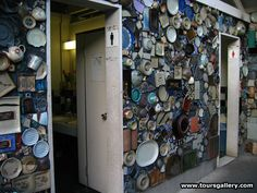 A public toilet in Japan decorated with broken or rejected pottery and ceramics on a tour with www.toursgallery.com