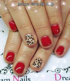 Red Short Nails Gel Nail Polish Manicure Design