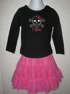 Girly Skull Halloween Shirt Onesie any size by rowanmayfairs, $21.00