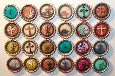 Christian Theme Geocache Coins For Swag And Geocaching Trade Items - 24 Piece Bottle Cap Set