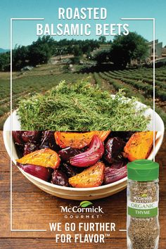 Looking for a new, sweet vegetable side dish? Try roasting beets in the oven to bring out their sweetness! This roasted beets recipe features the sweet warmth and slight minty flavor of McCormick Gourmet™ Organic Thyme Leaves and a balsamic glaze. Beet Recipes, Clean Recipes, Easy Healthy Recipes, Vegetable Recipes, Gourmet Recipes, Vegetarian Recipes, Cooking Recipes, Recipies, Roasted Beets Recipe