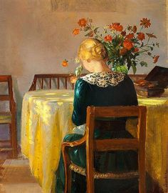 Interior with the painter's daughter Helga sewing, Anna Ancher. Danish Impressionist Painter (1859 - 1935)  poboh: