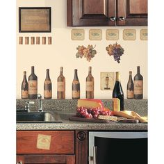 WINE TASTING WALL DECALS Grapes & Bottles Stickers Kitchen Decor Decorations