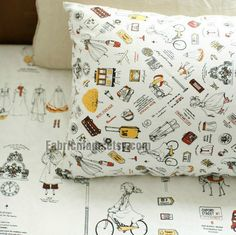 Cotton Linen Fabric Girl's Journey Bike Suit Case Travel Curtain Pillow Bag Fabric Green Blue- Fabric by Yard 1/2 yard
