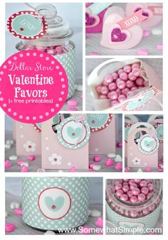 Download these FREE tags and make these darling Valentine favors from items at the dollar store! from www.SomewhatSimple.com