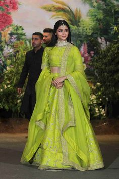 Alia Bhatt dons a neon green lehenga for Sonam Kapoor's wedding reception. Do you think you can rock this color too?