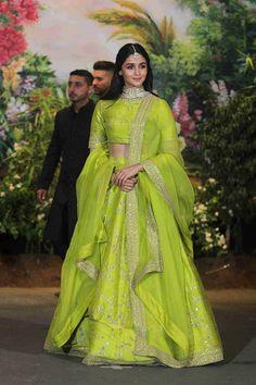 May, Alia Bhatt radiant in green lehenga at Sonam Kapoor wedding. Indian Lehenga, Sabyasachi Lehenga Bridal, Green Lehenga, Indian Gowns, Indian Attire, Anarkali, Alia Bhatt Lehenga, Lehenga Choli, Bollywood Lehenga