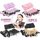 32pc Purple Professional Soft Cosmetic Eyebrow Shadow Makeup Brush Set +Bag Case #ad